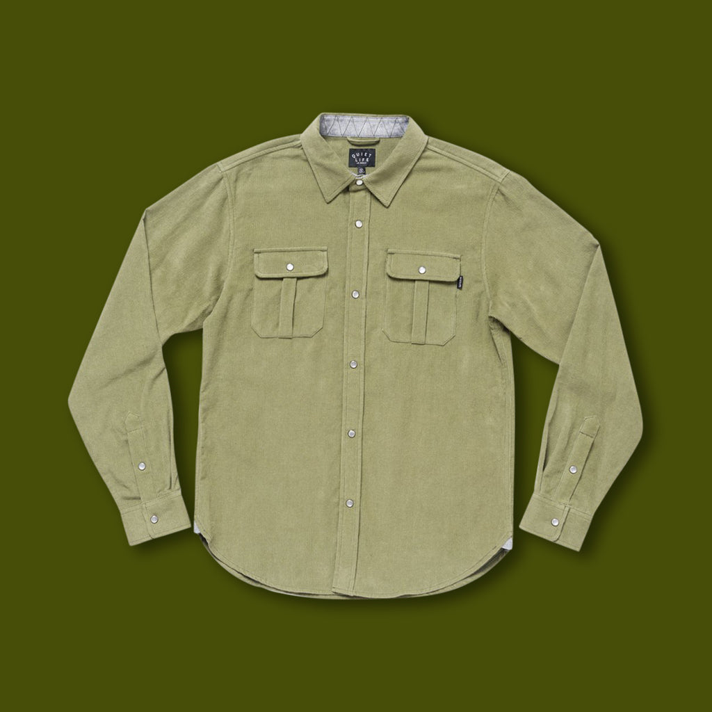 Corduroy Button Down - Olive