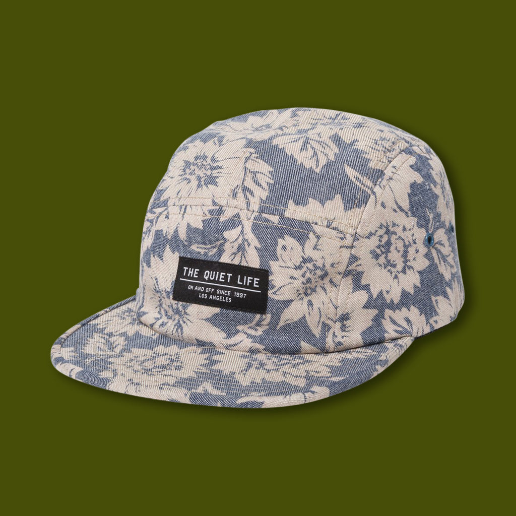 5 Panel Camper Hat - Denim Floral