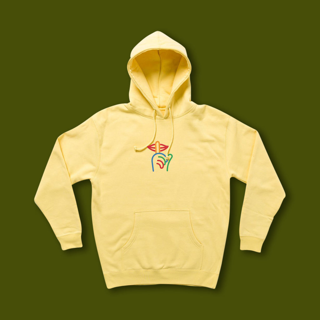 Shhh Rainbow Logo Hoodie - Light Yellow