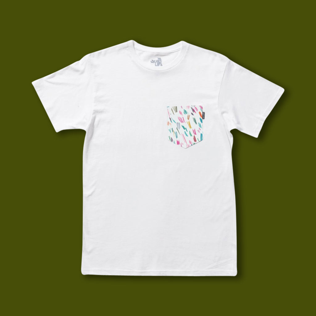 Scribble Pocket Tee - White
