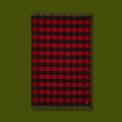 Bison Check Wool Throw - Red / Black