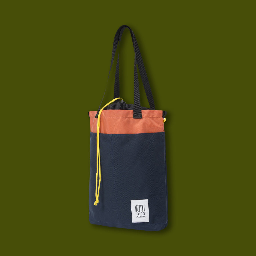 Cinch Tote - Navy & Coral