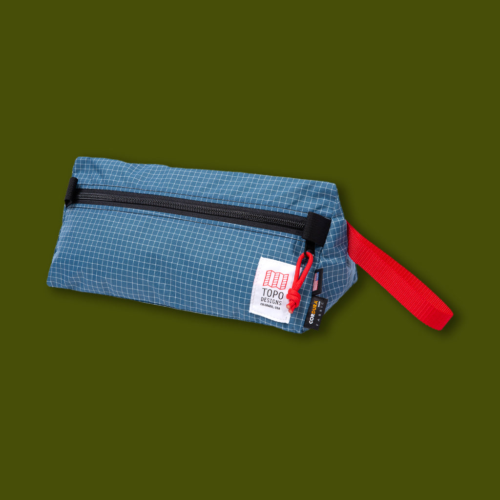 Triangle Dopp Kit - Blue Grid