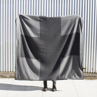 Wool Travel Blanket - Dark Grey Cross