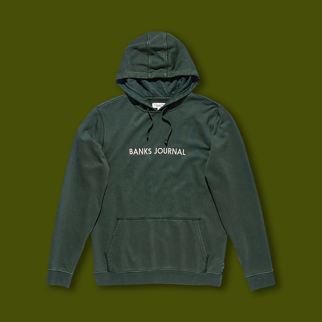 Label Fleece Hoodie - Forest Green