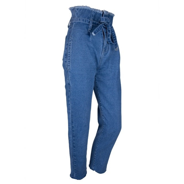 Casual High Waist Jeans with Drawstring - Dreamy Ape