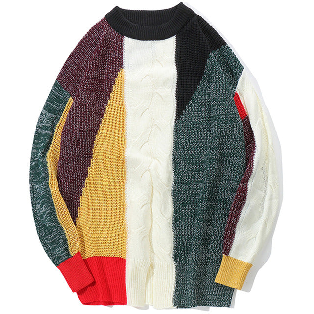 Vintage Color Block Pullover Sweater - Dreamy Ape