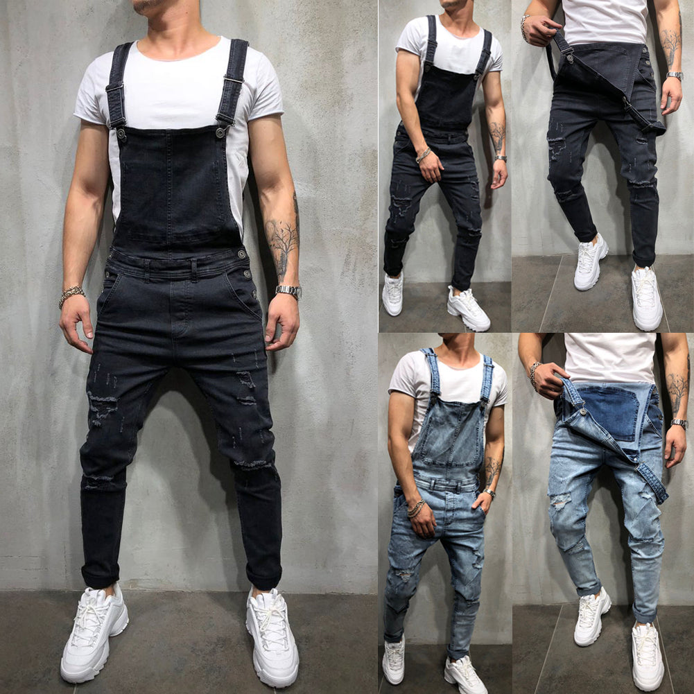 Distressed Denim Overalls - Dreamy Ape