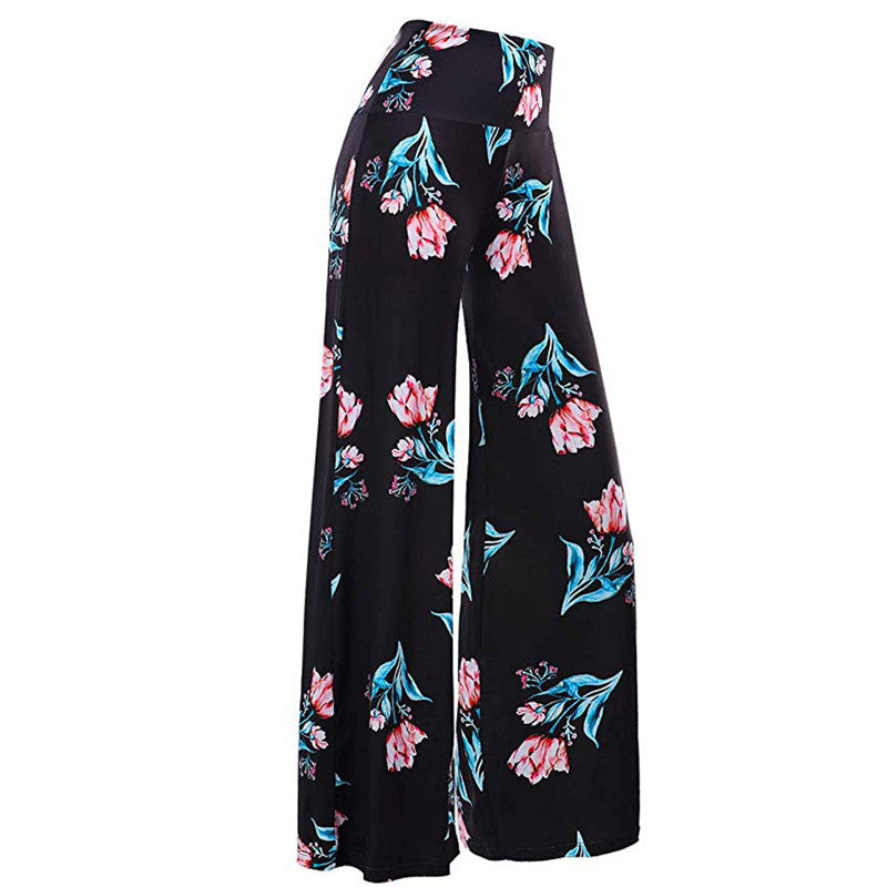 Floral Loose Print Stretchy Pants - Dreamy Ape