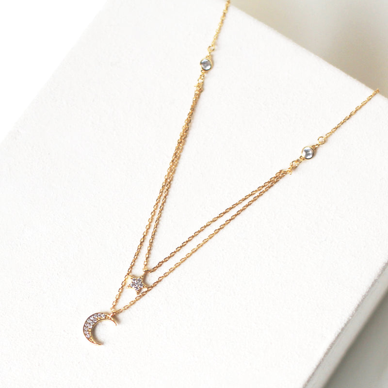 18K Gold Plated Shooting Star & Crescent Layered Necklace
