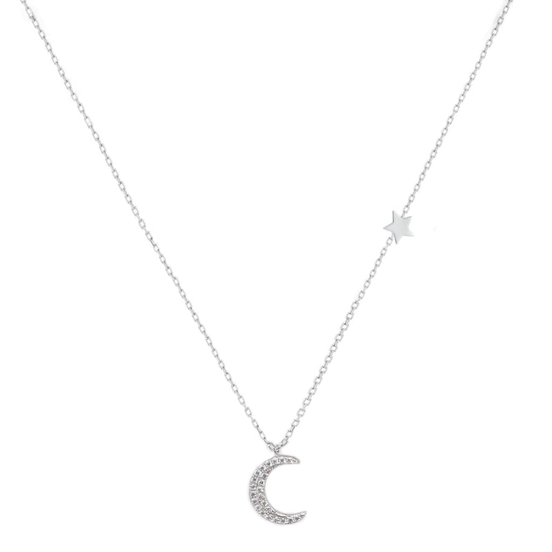 Crescent Moon and Star Necklace - SLVR New York Silver