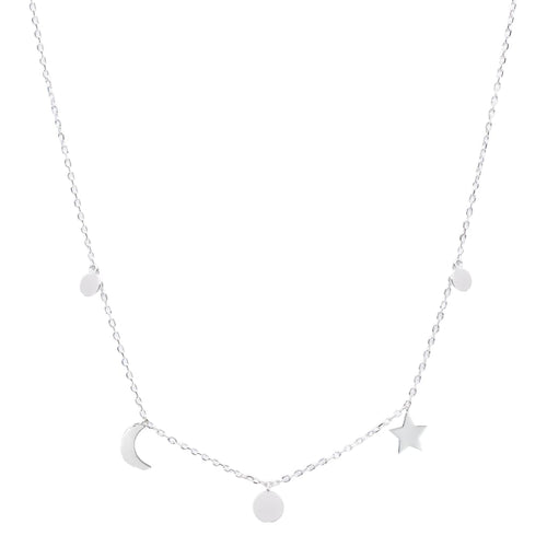 Crescent Moon Star And Circle Necklace - SLVR New York Silver