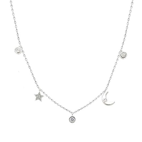 Crescent Moon Star And CZ Diamond Dainty Necklace - SLVR New York Silver