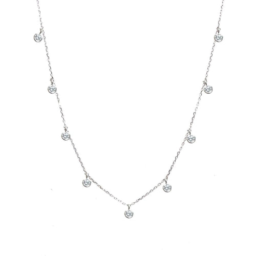 Falling round CZ Dainty Necklace - SLVR New York