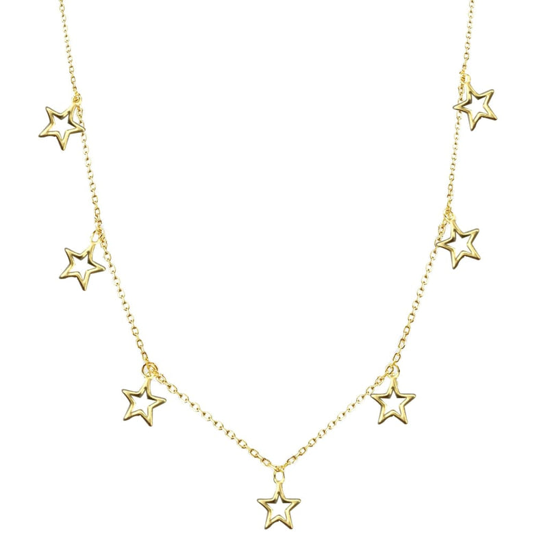 Falling Stars III Dainty Necklace - SLVR New York Gold