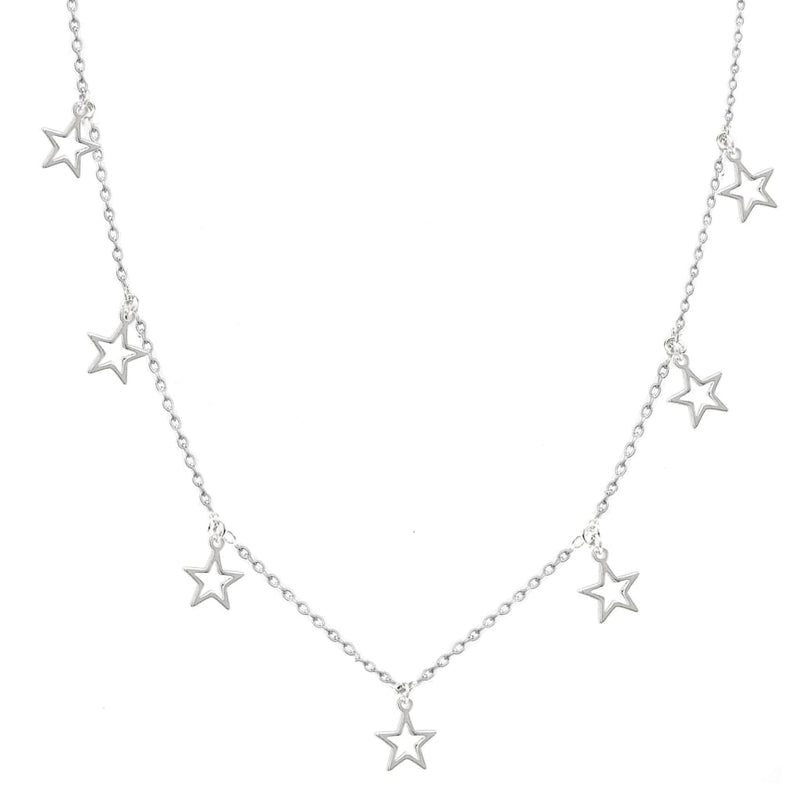 Falling Stars III Dainty Necklace - SLVR New York Silver
