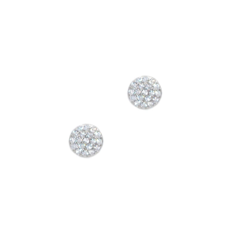 Flat Circle Earrings In Sterling Silver with CZ - SLVR New York Earring