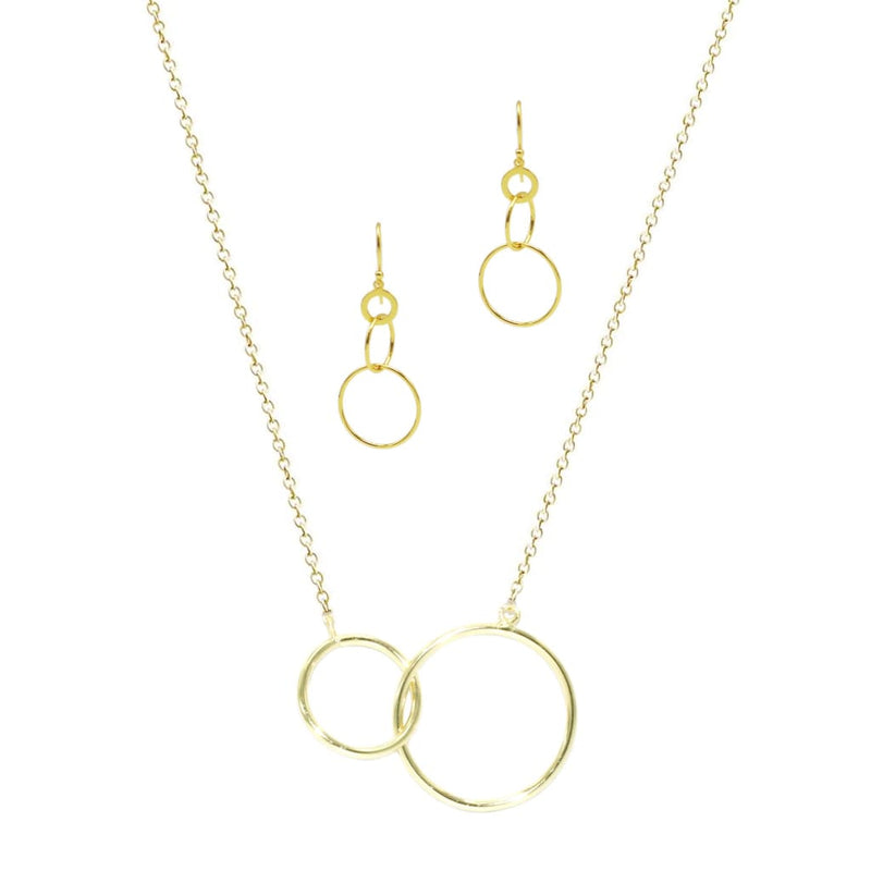 Intersect Circle Earrings in Sterling Silver - SLVR New York Gold / SET