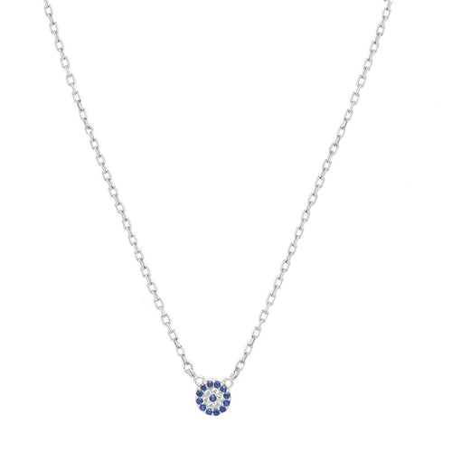 Mini Circle with Blue Stone Pendant Necklace - SLVR New York Silver