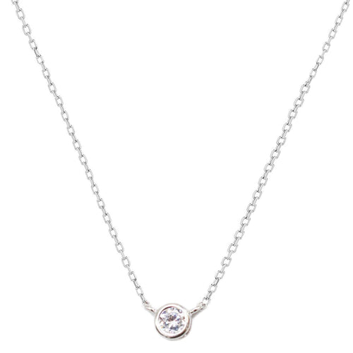 MINI CZ Bezel Set Pendant Necklace - SLVR New York Silver
