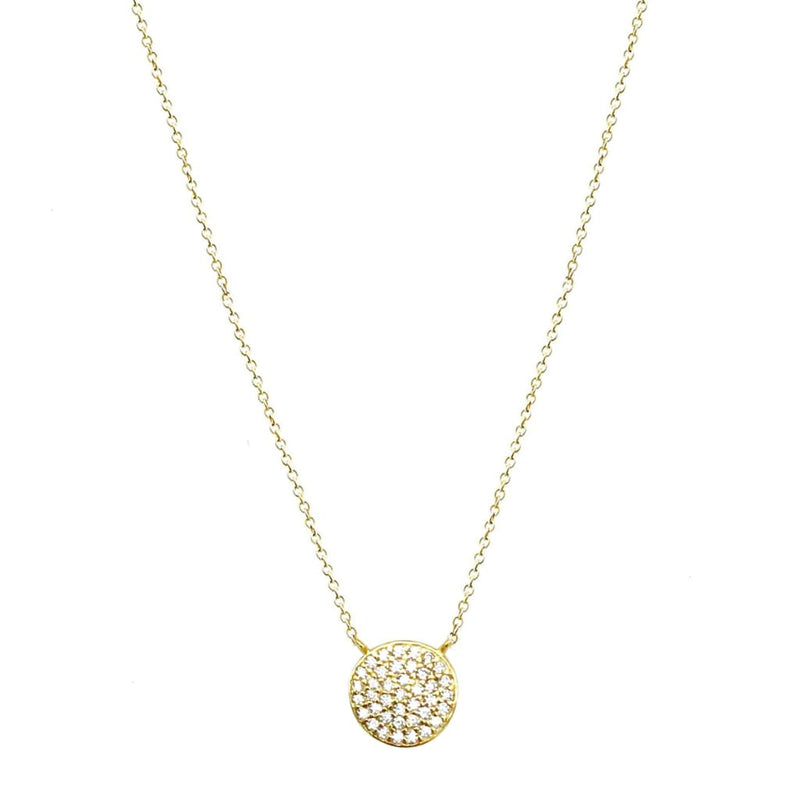Mini Round Tag with CZ Pendant Necklace - SLVR New York Necklace / Gold