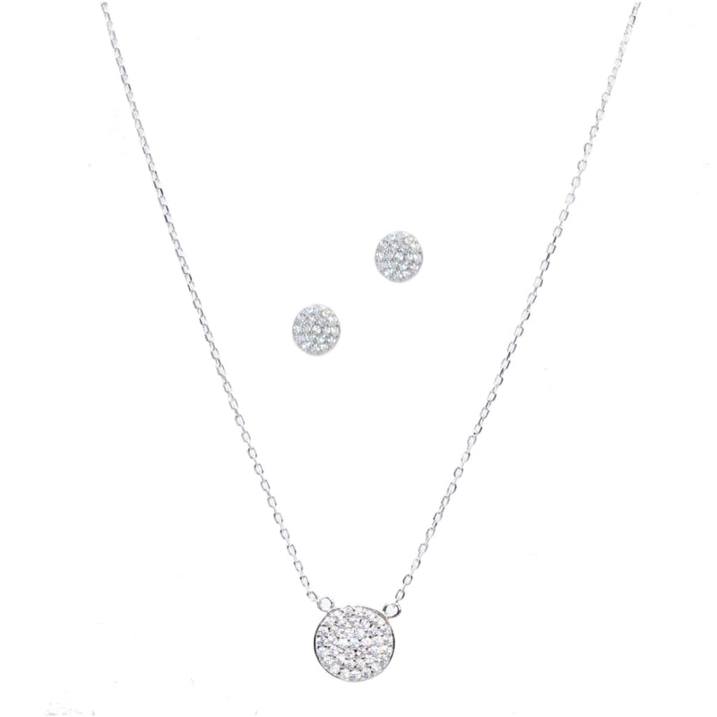Mini Round Tag with CZ Pendant Necklace - SLVR New York Set / Silver