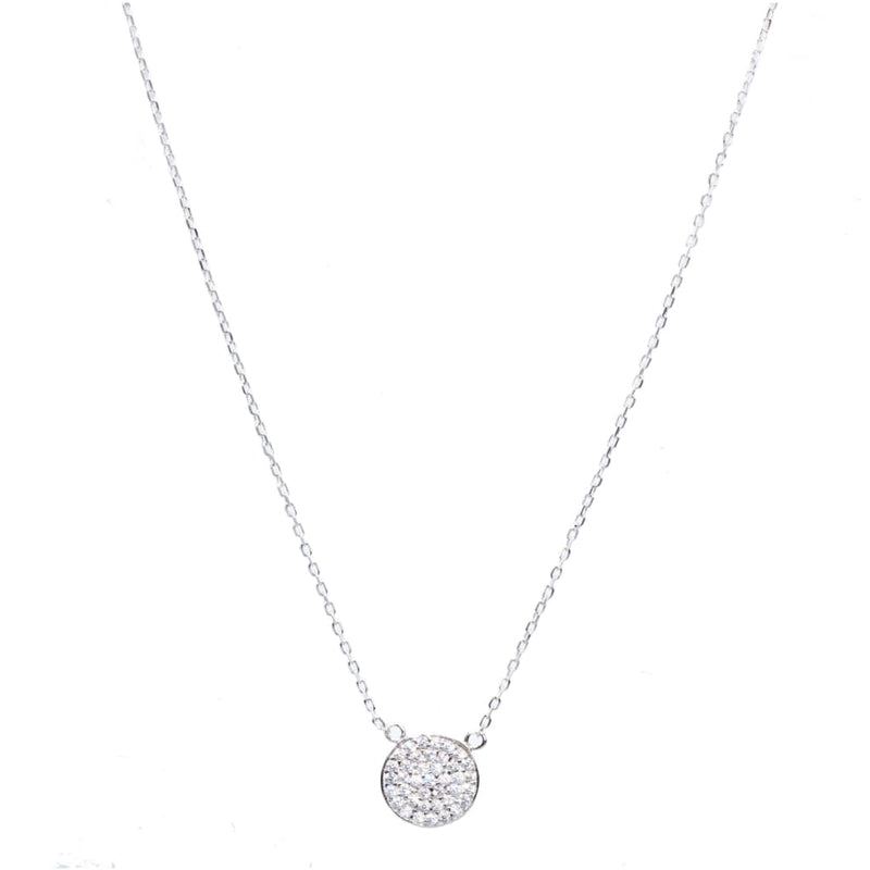 Mini Round Tag with CZ Pendant Necklace - SLVR New York Necklace / Silver