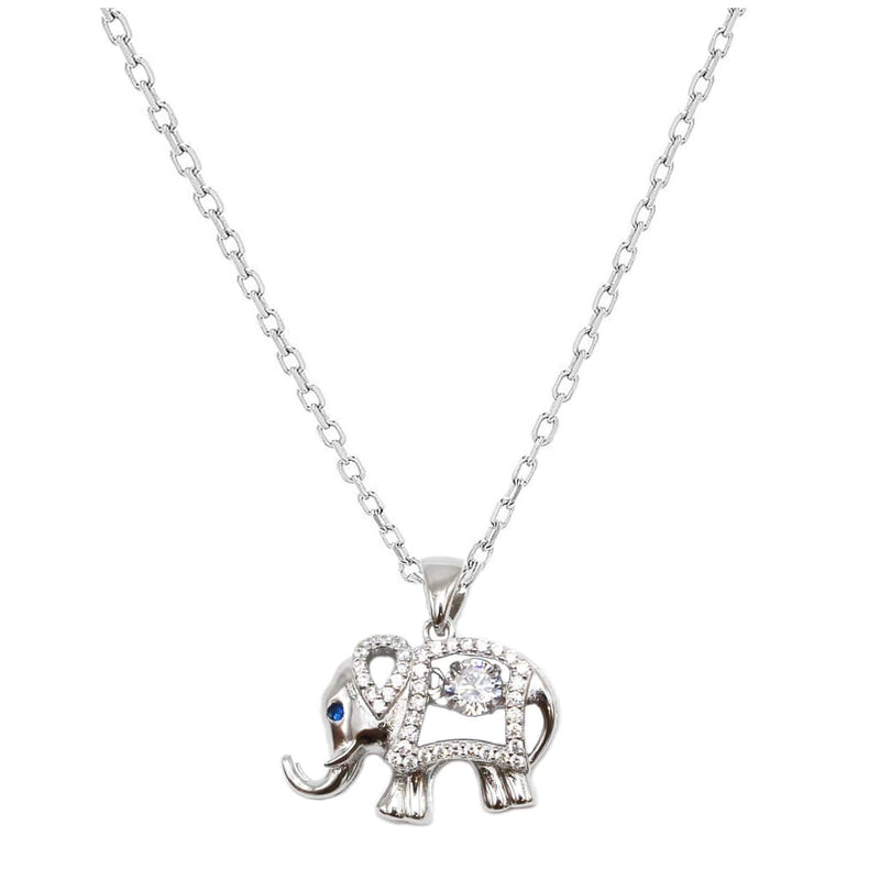 Small Elephant Pendant with Blue Sapphire - SLVR New York