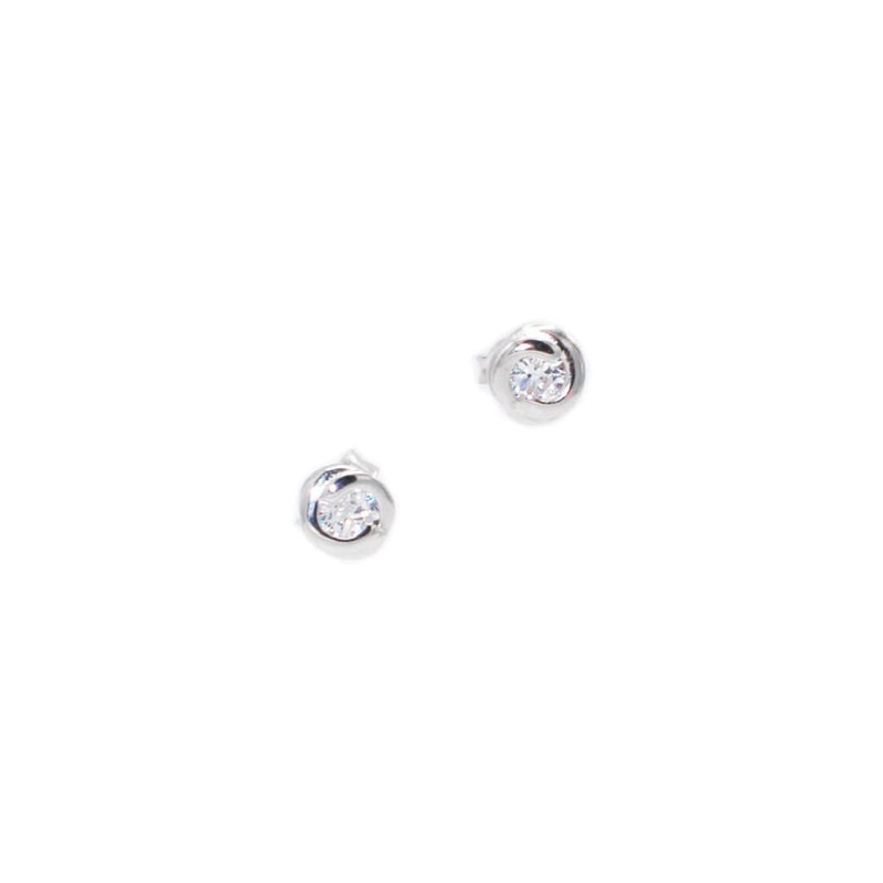 Stud Earrings In Sterling Silver with CZ - SLVR New York