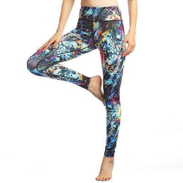 Leggings tendance, pantalon de yoga imprimé, collant de sport, gym, fitness, pilâtes, running, motifs colorés noir bleu rose jaune