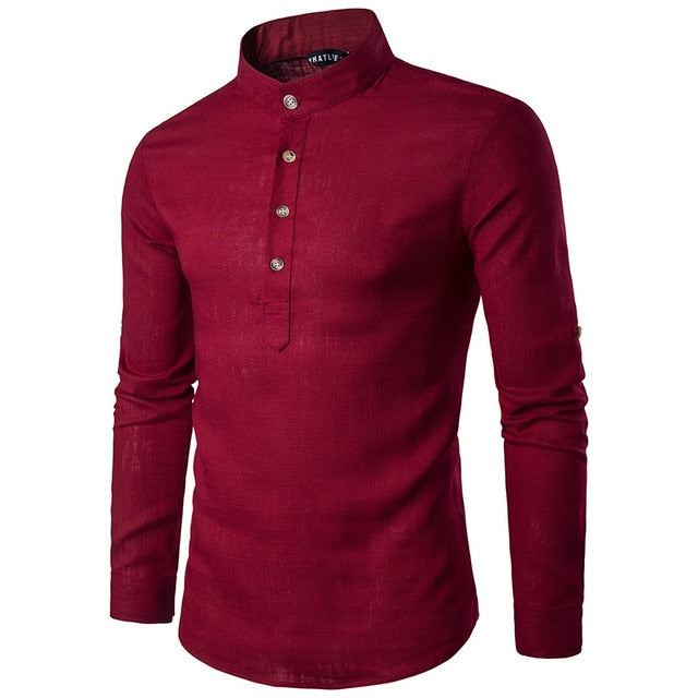 Tunique col Mao rouge manches longues