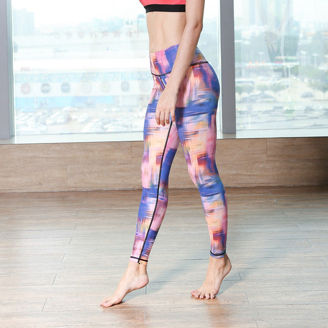 leggings multicolore femme violet orange indigo