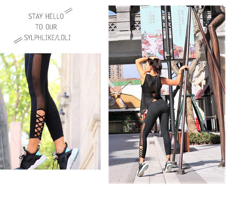 Leggings noir, pantalon de yoga, legging à mailles patchwork, collant de sport gym fitness running pilâtes, mise en situation