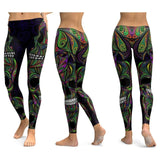 Leggings tête de mort et ornements multicolore