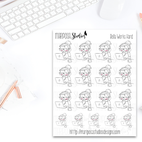Bella Works Hard - Planner Stickers
