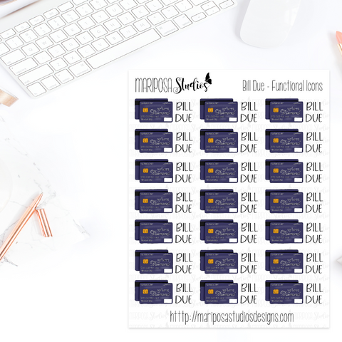 Bill Due | Functional Icons - Planner Stickers
