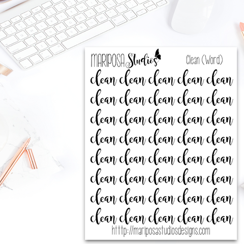 Clean (Word) - Planner Stickers
