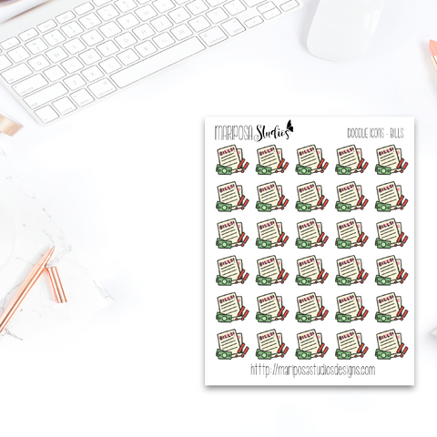 Doodle Bill Pay - Planner Stickers
