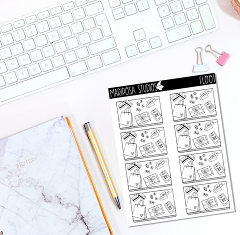 Shopping Flat Lay | FL001 - Planner Stickers