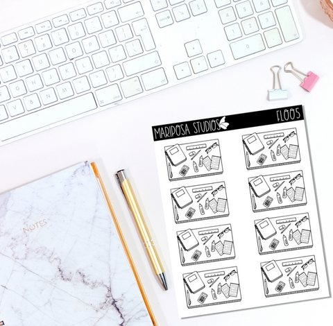 Teaching/Studying Flat Lay | FL005 - Planner Stickers