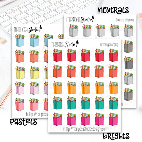 Grocery Shopping (NO TEXT) - Planner Stickers