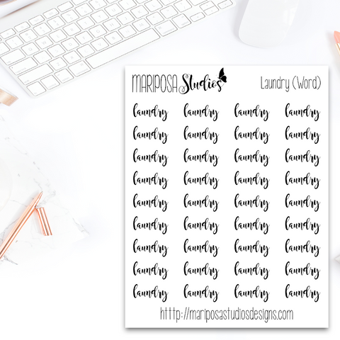 Laundry (Word) - Planner Stickers