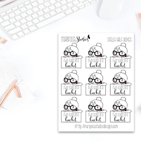 Stella Half Boxes | Two Tears in a Bucket - Planner Stickers