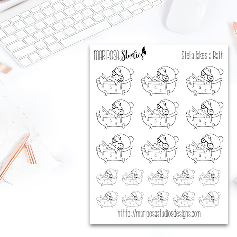 Stella Takes a Bath - Planner Stickers