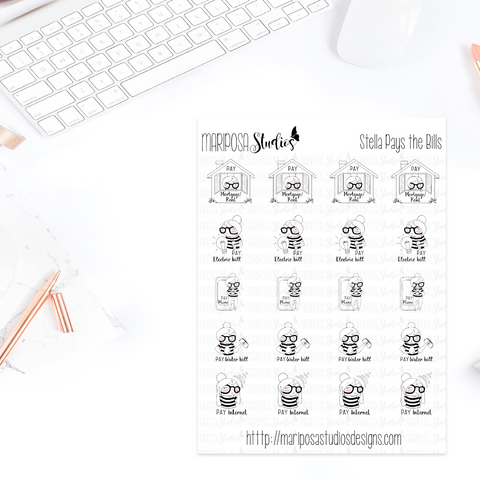 Stella Pays the Bills - Planner Stickers