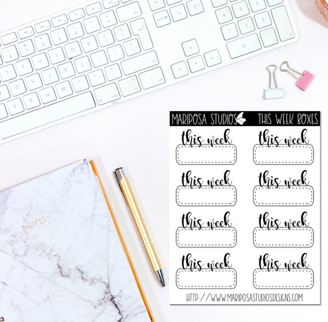 This Week Quarter Boxes  - Planner Stickers