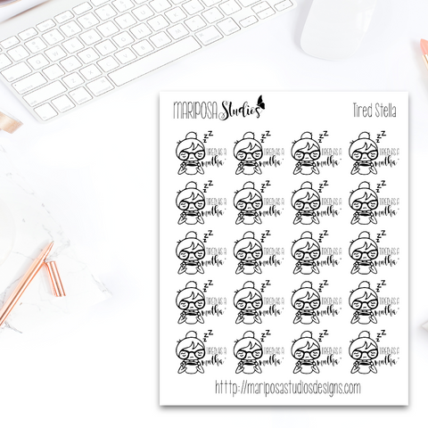 Tired Angry Stella - Planner Stickers