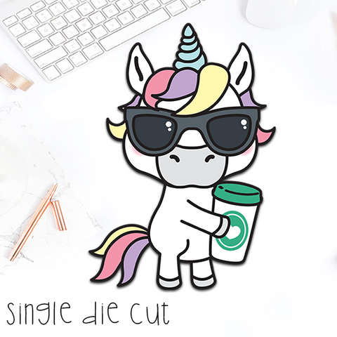 Coffee Unicorn - Single Die Cut