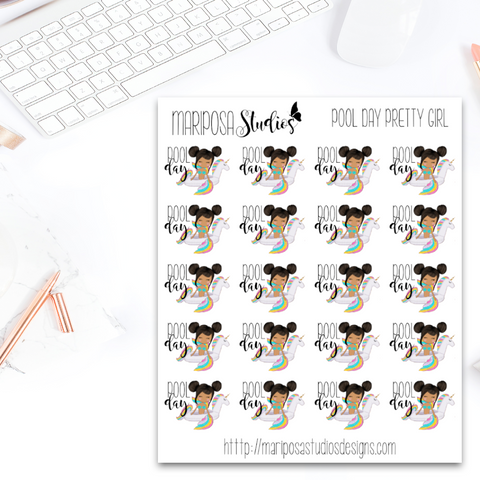 Pretty Girl Pool Day (Unicorn) - Planner Stickers