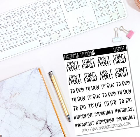 Functional Words | WS004 - Planner Stickers